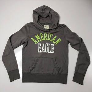 American Eagle Grey Logo Pullover Pocket Hoodie